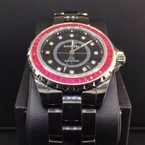 Chanel J12 Automatic 38mm Black Ceramic Ruby Diamond Bezel...