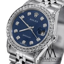 Rolex Midsize Datejust 78240 Blue Diamond Bezel Numbers Steel...