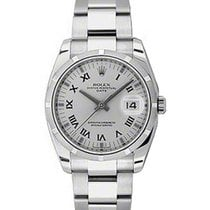 Rolex Oyster Perpetual 115210-SLVRFO 34mm Silver Roman...