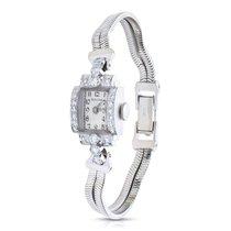 Bulova Vintage 14K White Gold/Platinum & Diamond