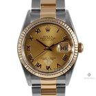 Rolex Datejust Steel and Gold Champagne Roman Numeral Dial...