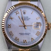 Rolex Mens Datejust Two Tone 18k Gold Steel Mother-of-pearl...