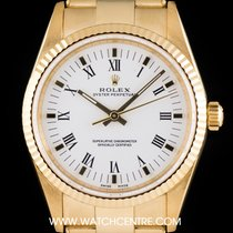 Rolex 18k Y/Gold White Roman Dial Oyster Perpetual Gents 14238