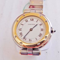 Cartier santos ronde lady automatico acciaio e oro