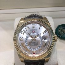 Rolex SKY DWELLER 18K YELLOW GOLD ON BROWN LEATHER 326138