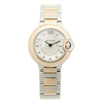 Cartier Ballon Bleu 18k Rose Gold And Steel Silver Quartz...