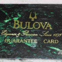 Bulova vintage warranty card green newoldstock