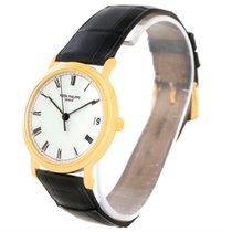 Patek Philippe Calatrava 18k Yellow Gold Black Strap Watch 3802