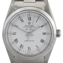 Rolex Air-King Men's Steel Watch, White Roman Dial, Smooth...