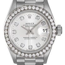 Rolex Ladies Platinum President Watch 79136 Factory Silver Dial