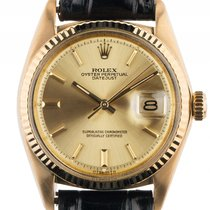 Rolex Datejust Gelbgold Automatik Armband Leder 36mm Ref.1601...