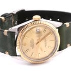 Rolex Datejust w/ Champagne Stick Dial Olive Horween Strap