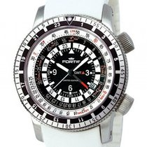 Fortis B-47 Calculator GMT 3 Time Zones White Stahl Automatik...