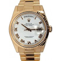 Rolex Day-Date 36 118235-WHTRFP White Roman Fluted Rose Gold...
