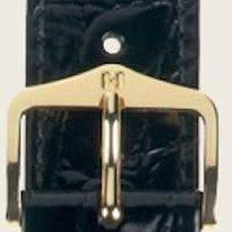 Hirsch Uhrenarmband Leder Crocograin schwarz M 12302850-1-16 16mm