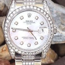 Rolex 34mm Date Stainless Steel Diamond Oyster Band Year 2008...