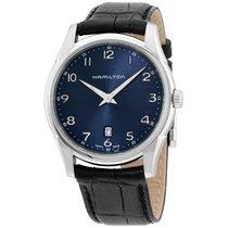 Hamilton Jazzmaster Thinline 42 Mm Blue Dial Black Leather...