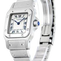 Cartier W20056D6 Santos 24MM Silver Guilloche Dial Women Steel...