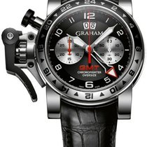 Graham Chronofighter Oversize GMT Black Dial Black Leather...