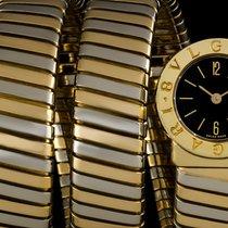 Bulgari 18k Y/Gold & 18k W/Gold Black Dial Snake Tubogas...