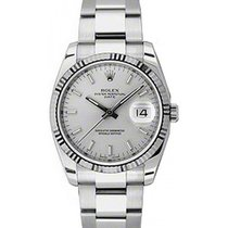 Rolex Oyster Perpetual 115234-SLVSFO 34mm Silver Index Fluted...