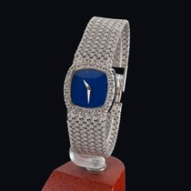 Universal Genève vintage white gold and lapis manual widing