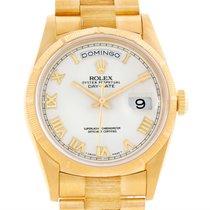 Rolex President Mens 18k Yellow Gold Bark Finish White Dial...
