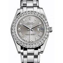 Rolex Pearlmaster 34 81299 Silver Roman Diamond Bezel White Gold