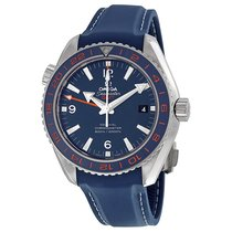 Omega Seamaster Planet Ocean GMT Blue Dial Leather Mens Watch...