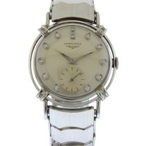 Longines 14k White Gold & Diamond Men's Bracelet Watch