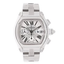 Cartier Roadster XL Chronograph Stainless Steel Watch Silver Dial