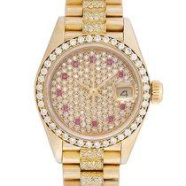 Rolex Ladies Rolex President 18k Gold Diamond Watch 69138