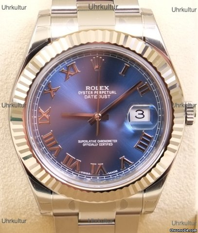 rolex datejust ii ref 116334 blau r misches zifferblatt for 7 743 for sale from a trusted. Black Bedroom Furniture Sets. Home Design Ideas