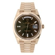 Rolex DAY-DATE 40 Rose Gold President Chocolate Diamond Dial