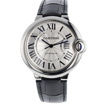 Cartier Ballon Bleu 36mm Steel on Black Leather Strap