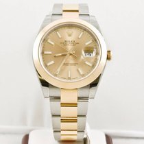 Rolex 41mm Datejust 126303 Champagne Index Dial Smooth Bezel