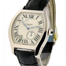 Cartier Tortue XL Silver Guilloche Dial Men's 18 Carat...