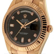 Rolex Day-Date II President 18k Rose Gold Black Diamond Dial...