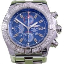 Breitling Super Avenger A13370 Diamond Bezel 48mm Blue Baton...