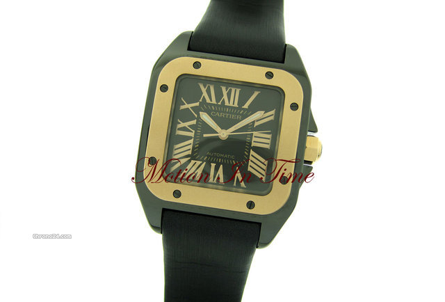 Cartier SANTOS 100 mm-MIDSIZE BLACK CERAMIC &amp;amp; ROSE GOLD SPECIAL ED.