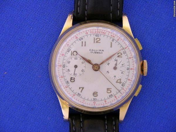 Chronographe Suisse Cie Callima 18K Chronograph ca. 1945