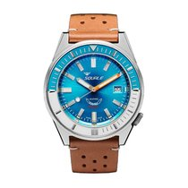 Squale Matic 60 ATM blue - Vintage brown leather strap