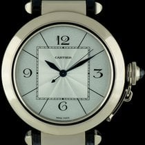 Cartier 18k White Gold Silver Dial Pasha XL Gents Watch...