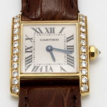 Cartier Yellow gold diamond Tank Francaise with brown strap