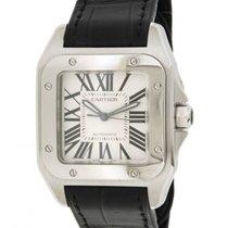 Cartier Santos 100 W20106x8 Steel Leather, 44.2x35.6mm