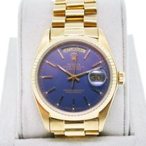Rolex Day-Date Presidential 18038 Single Quickset Blue Dial Watch