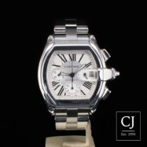 Cartier Roadster Stainless Steel XL Chronograph Silver Dial