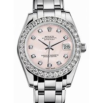 Rolex Pearlmaster 34 81299 Pink Mother of Pearl Diamond Bezel...