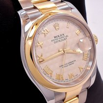 Rolex Datejust Two Tone 18k Yellow Gold & Ss Ivory Pyramid...