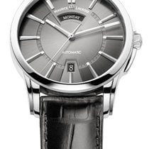 Maurice Lacroix Pontos Day/Date Grey Dial Silver Index Black...